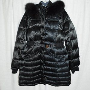 1 Madison Black Down Feather Faux Fur Collar Coat